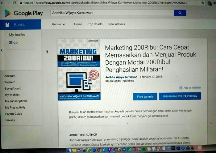 """Cara Mendapatkan Buku """"Marketing 200Ribu"""" Melalui Google Play Books"""